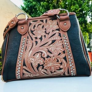 Montana West Black and Tan Ornate HoBo Bag